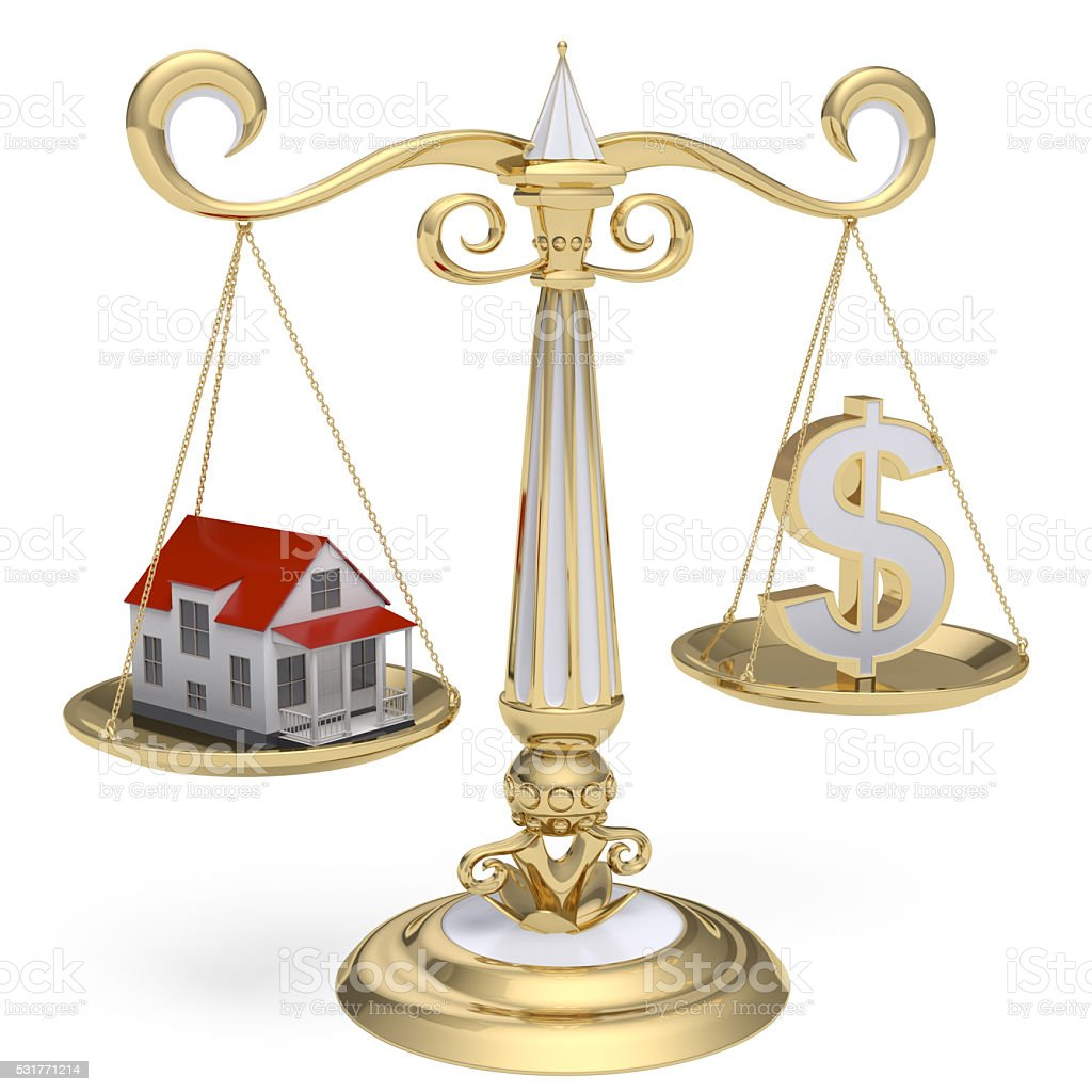 Scales with house and money stock photo