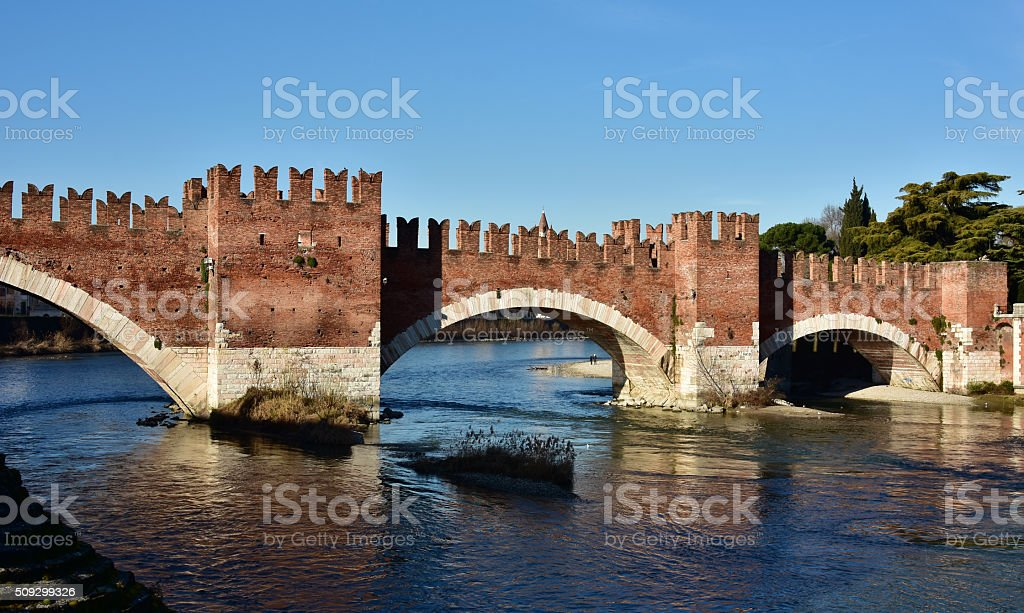 Scaliger Bridge over Adige River in Verona, Italy stock photo