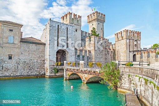 Sirmione, Italy - 02 September 2014: Scaliger Castle (13th century) in Sirmione on Garda lake near Verona