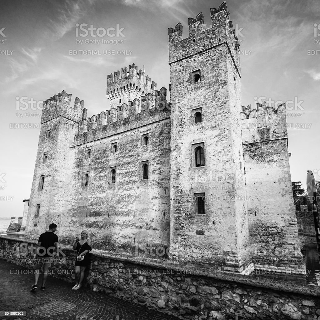 Scaliger Castle (13th century) in Sirmione on Garda lake near Verona, Italy stock photo