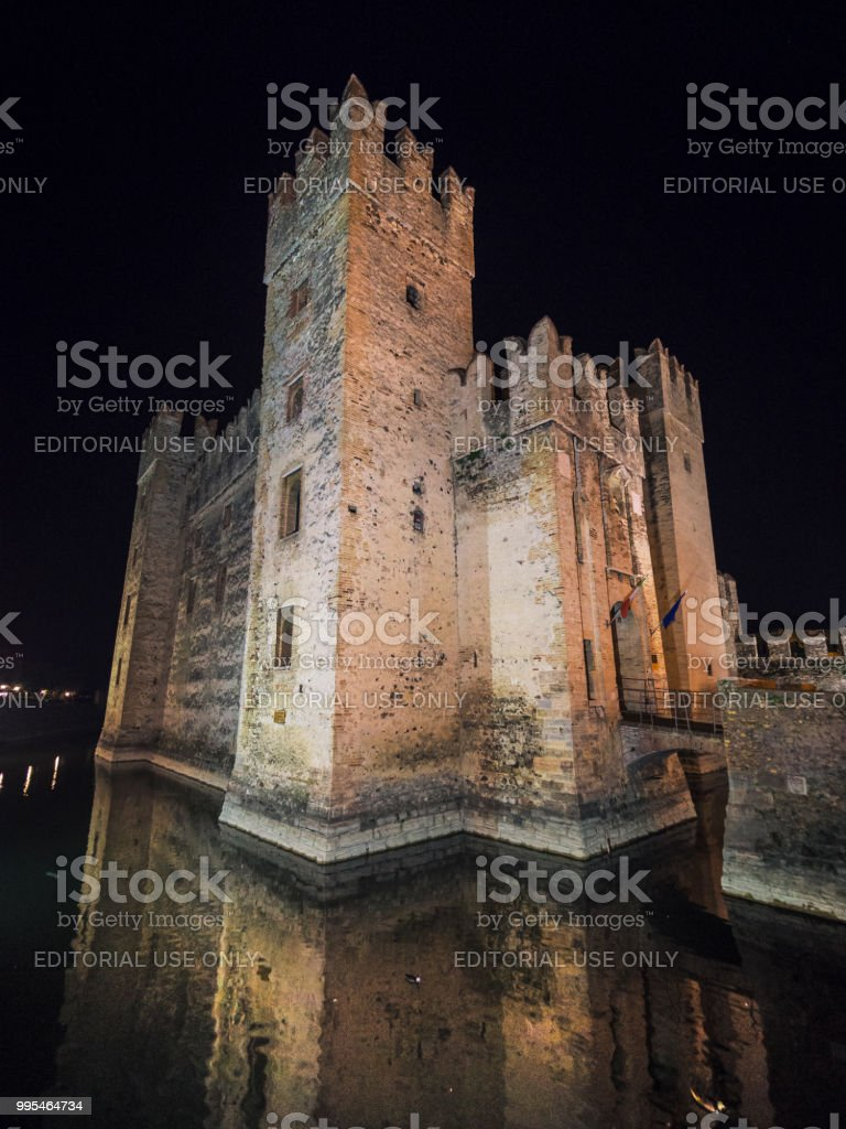 Scaliger Castle in Sirmione on Lake at Night, Garda, Lombardy, Italy, Europe stock photo
