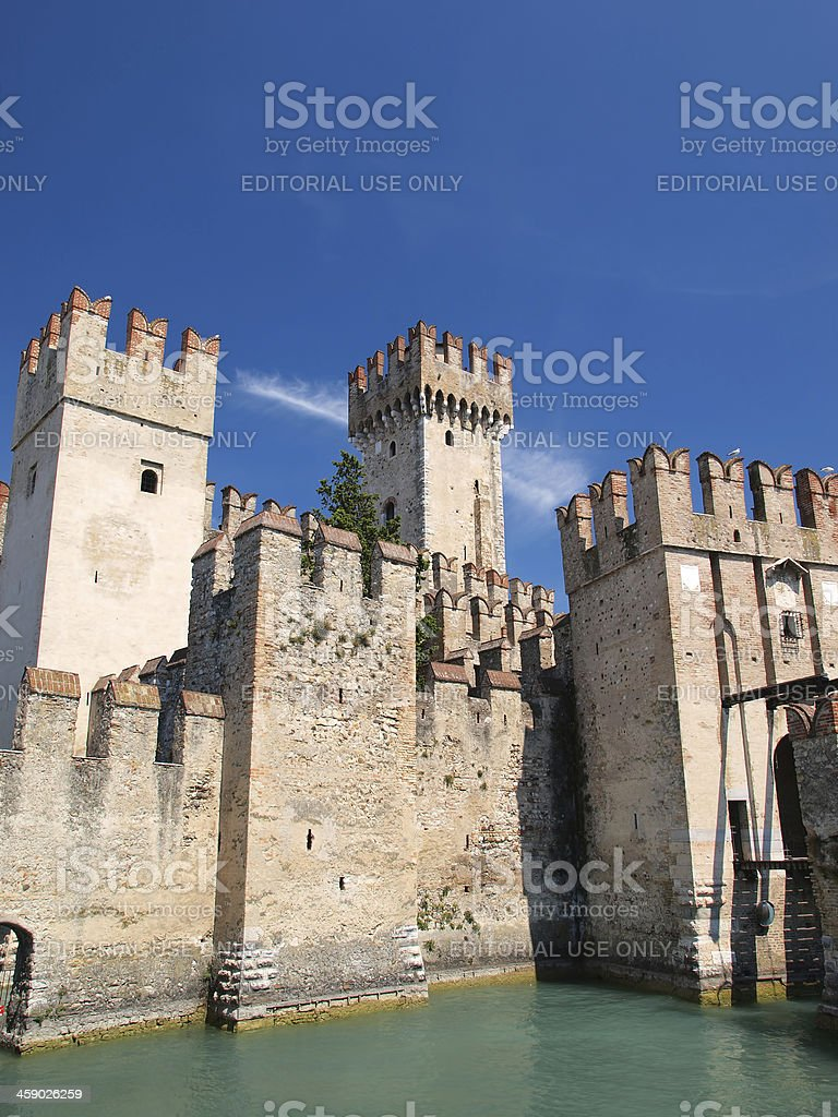 Scaliger castle in Sirmione stock photo