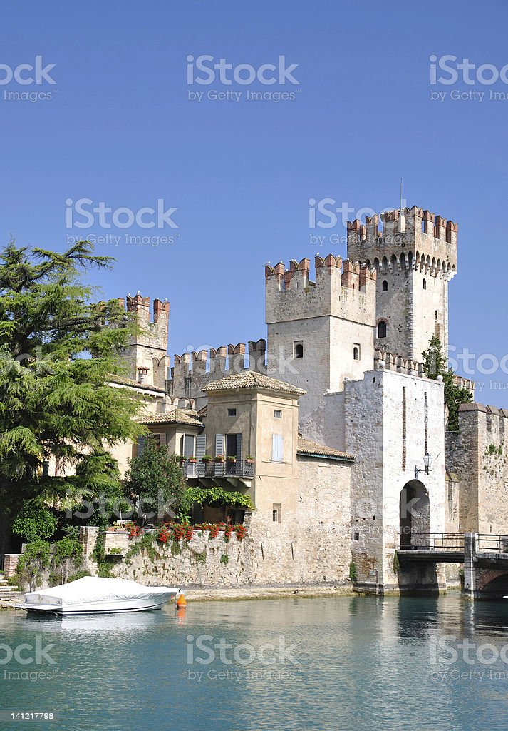 Scaligers Castle,Sirmione,Lake Garda,Italy stock photo