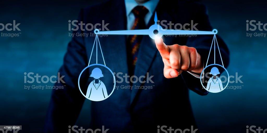 Scaling A Big Versus A Small Female Worker Icon stock photo