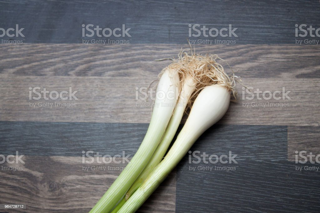 Scallions on a gray kitchen counter top royalty-free stock photo