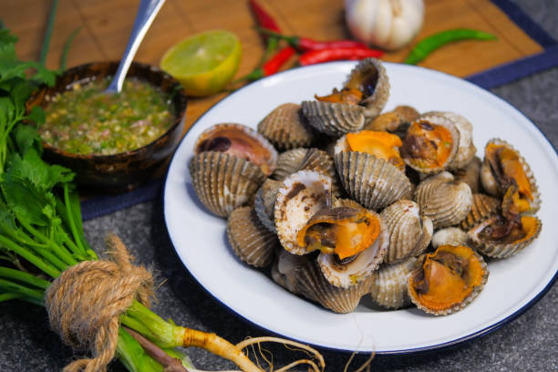 Scallop cockles with Seafood sauce stock photo