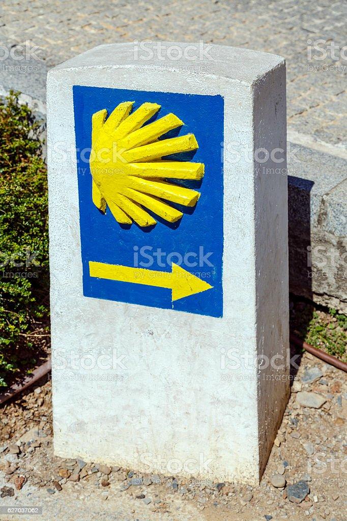 Scallop indicator signal pilgrims santiago road Ponferrada Spain stock photo