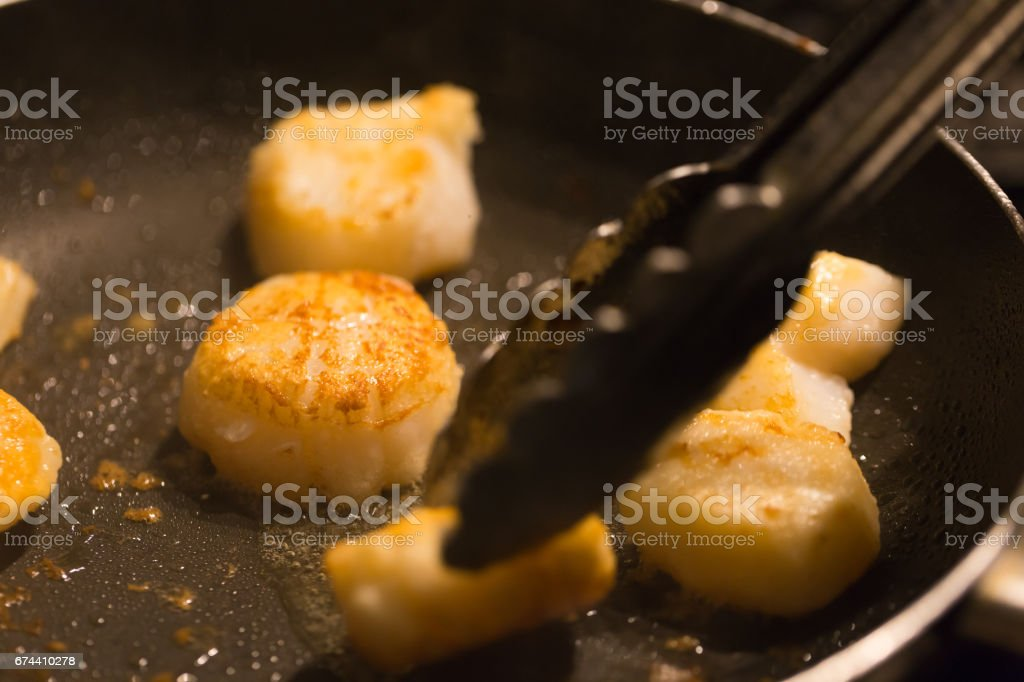 Scallop meat grilled stock photo