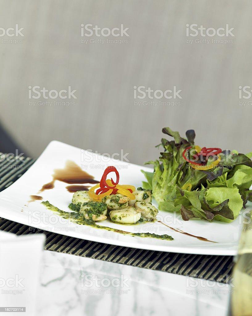Scallop Salad and Balsamic Vinaigrette royalty-free stock photo