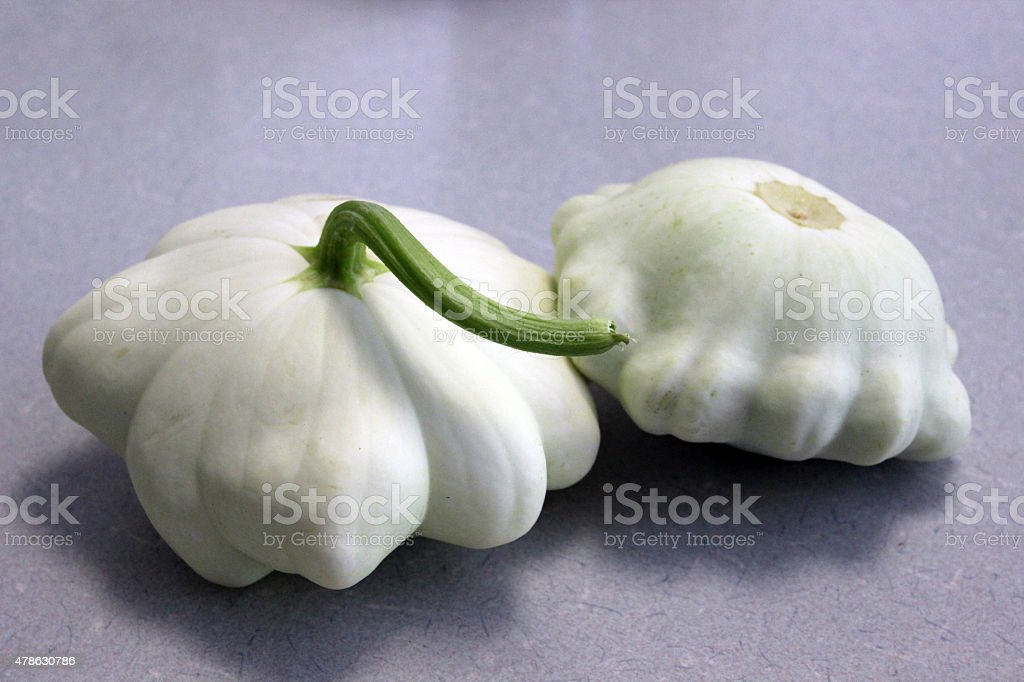 Scallop Squash Harvested from the Garden stock photo