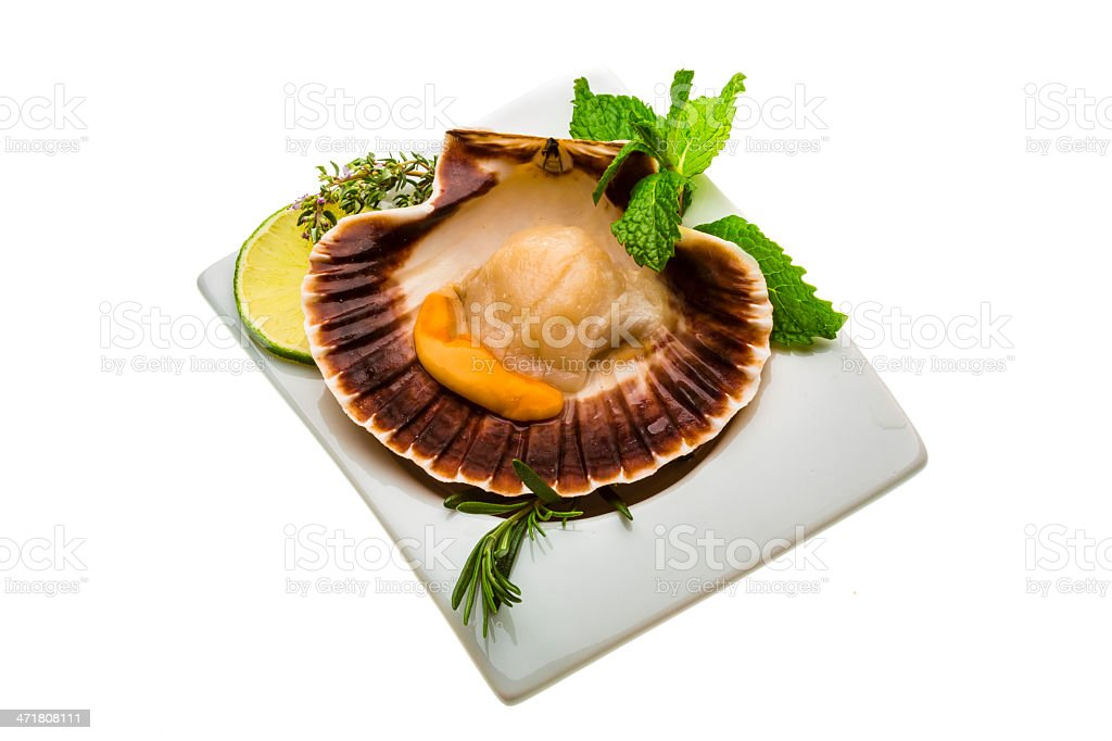 Scallop with asparagus, lime, mint and rosemary royalty-free stock photo