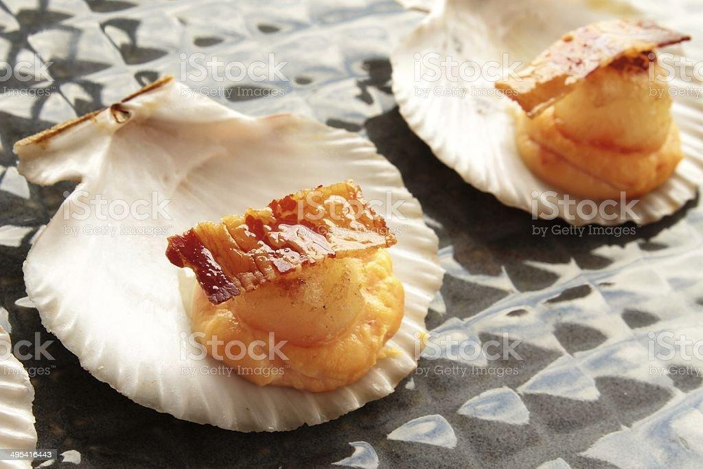 scallops appetiser starter in shell stock photo
