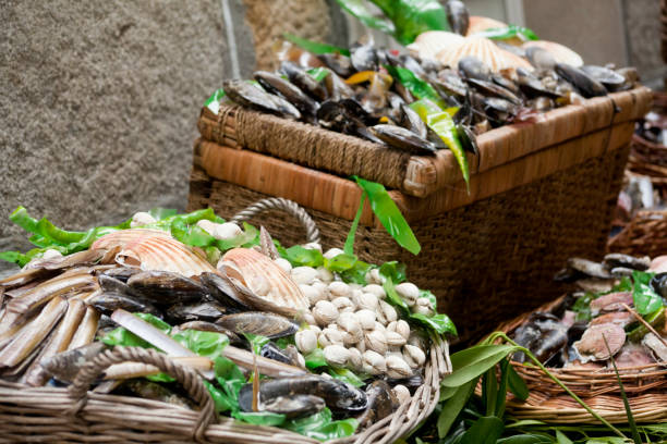 Scallops, cockles, mussels and razor clams at a street market. Close-up view of display of scallops, cockles, mussels and razor clams  in baskets at a street market. Decoration in a Traditional festival in Muros, A Coruña province, Galicia, Spain. mollusk stock pictures, royalty-free photos & images