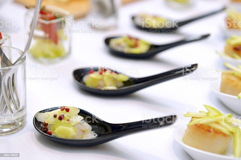 scallops in the spoon stock photo