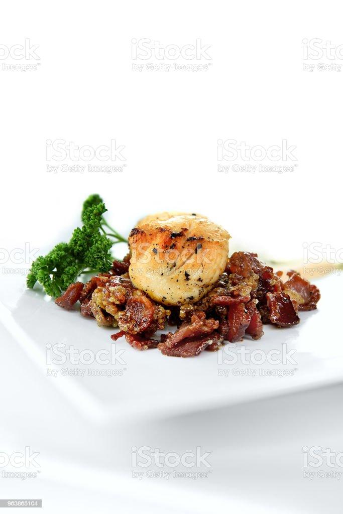 Scallops on Caramalized Pork II stock photo