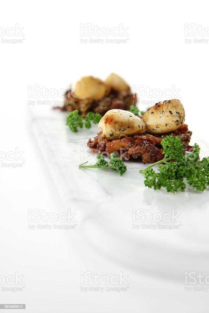 Scallops on Caramalized Pork III stock photo