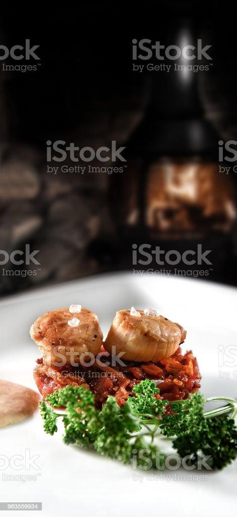 Scallops on Caramalized Pork stock photo