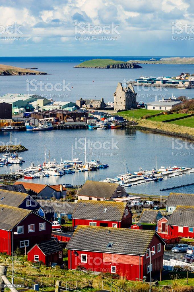 Scalloway village, Shetland Islands, Scotland stock photo