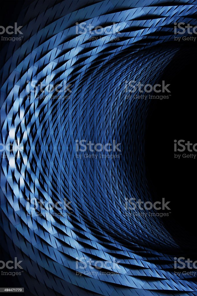 Scaly metal object similar to crescent. Modern industrial motif. stock photo