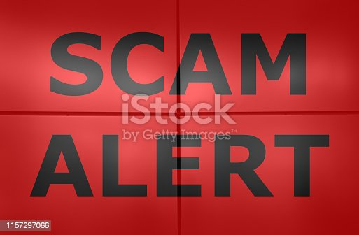 istock Scam alert text on red background. 1157297066