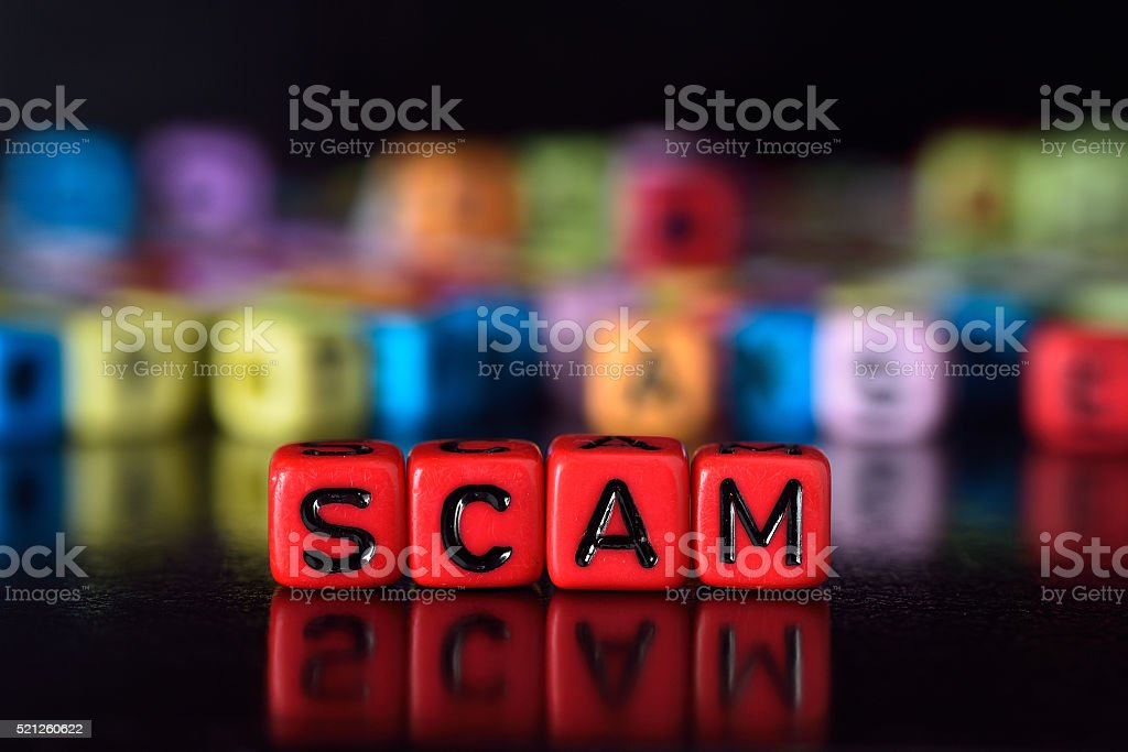 Scam on red dice stock photo