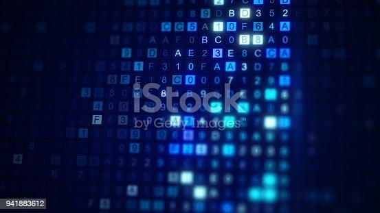 istock Scan HEX digital data code 3D render with DOF 941883612