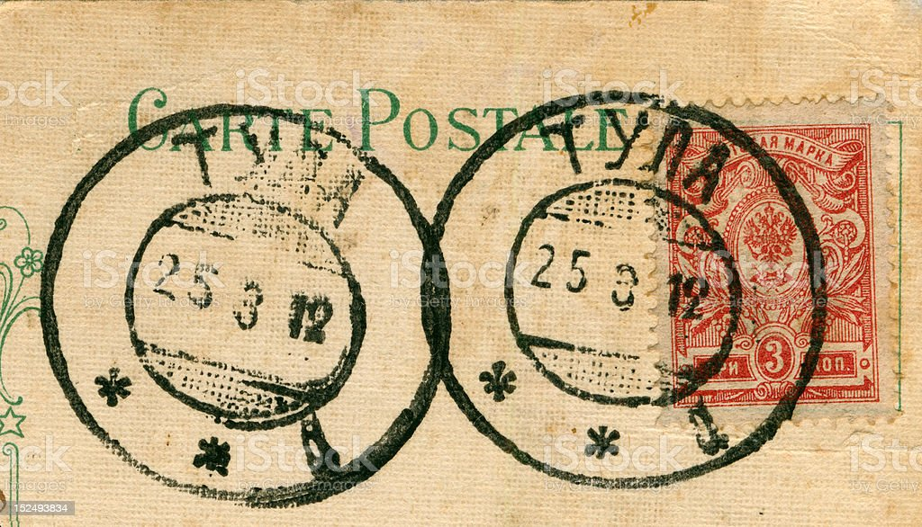 scan of old 1900's postmarks and postage stamp royalty-free stock photo