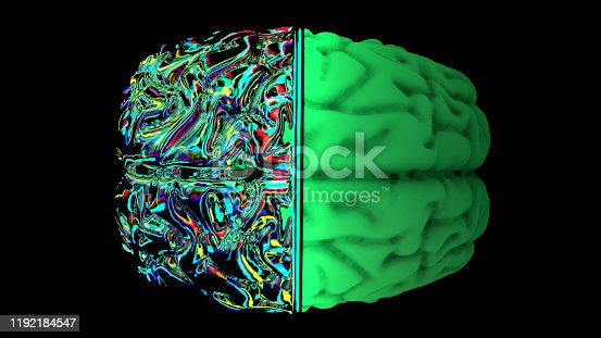 667379906 istock photo MRI scan of the brain in the color green 1192184547