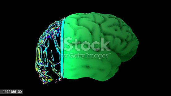 667379906 istock photo MRI scan of the brain in the color green 1192186130