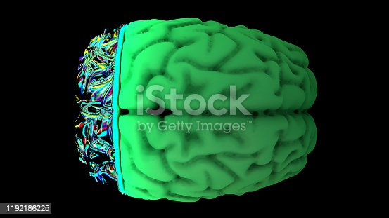 667379906 istock photo MRI scan of the brain in the color green 1192186225