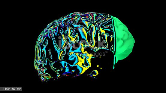 667379906 istock photo MRI scan of the brain in the color green 1192187262