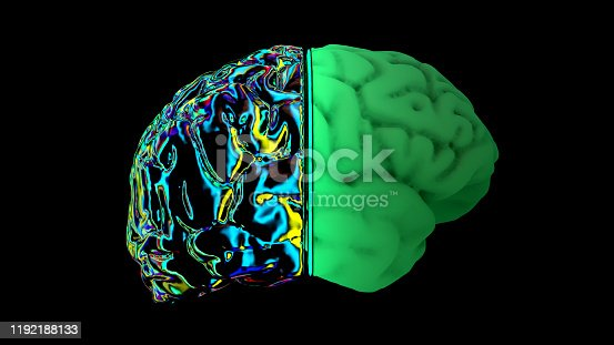 667379906 istock photo MRI scan of the brain in the color green 1192188133