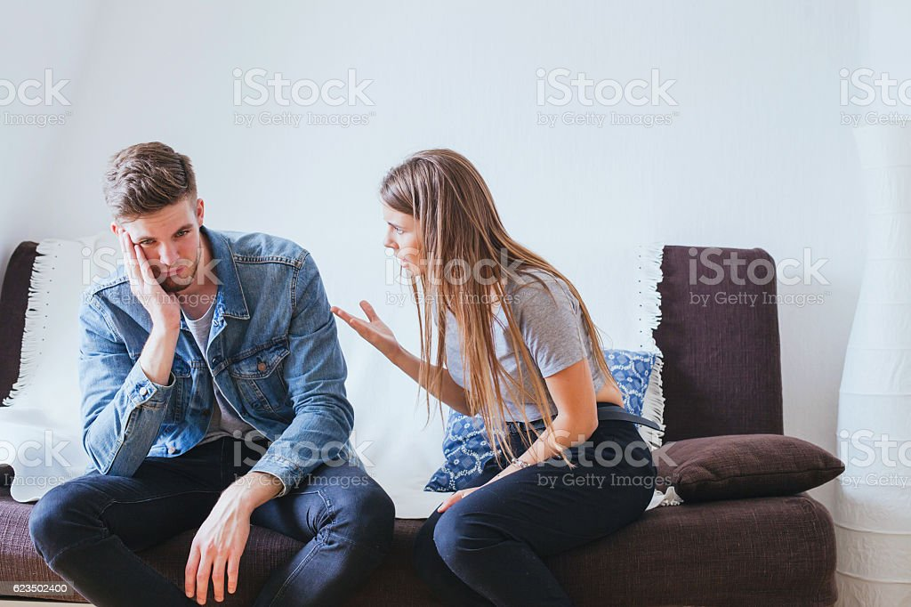 scandal, relationship problems in young family couple stock photo