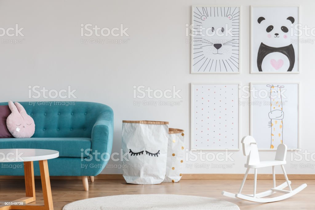 Scandi design of kid room stock photo