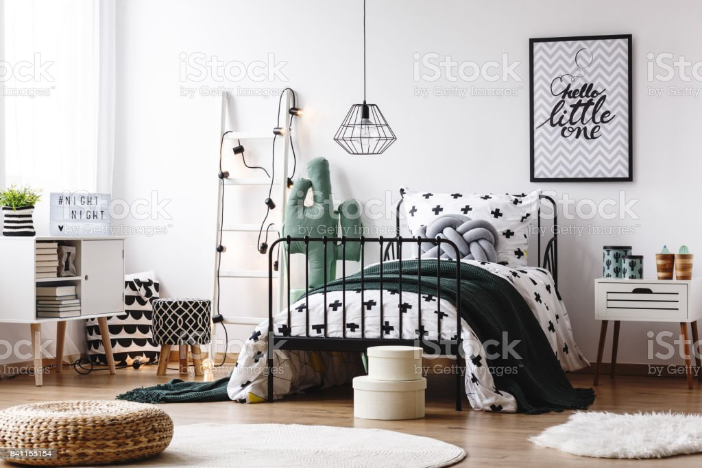 Scandi kids room with stool stock photo