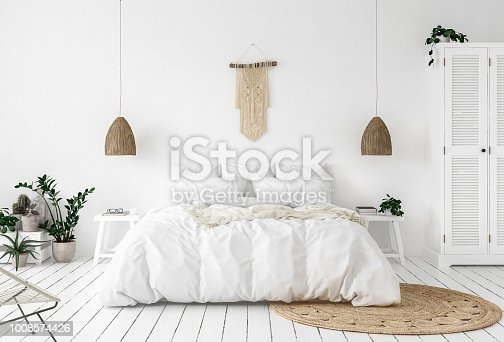 Scandi-boho style bedroom, 3d render