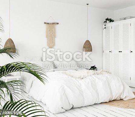 istock Scandi-boho style bedroom 1008574436