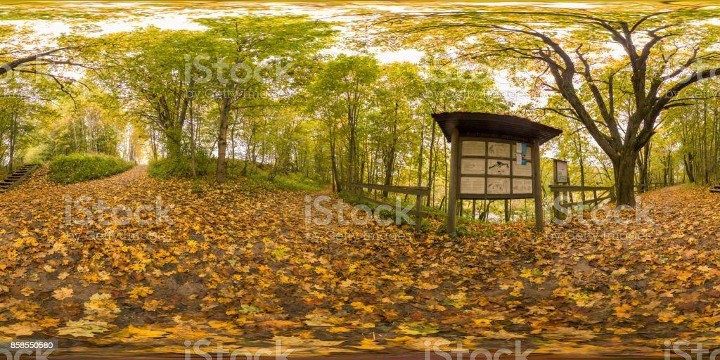Scandinavia fall colors 360 degree Panorama stock photo