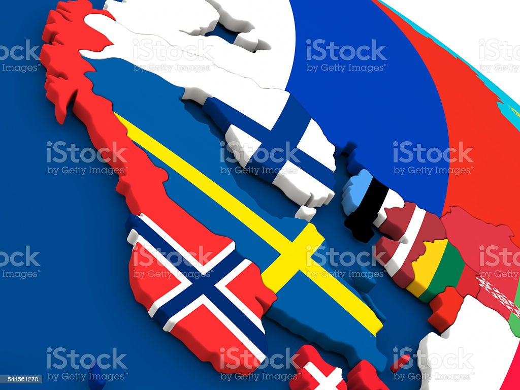 Scandinavia on globe with flags stock photo
