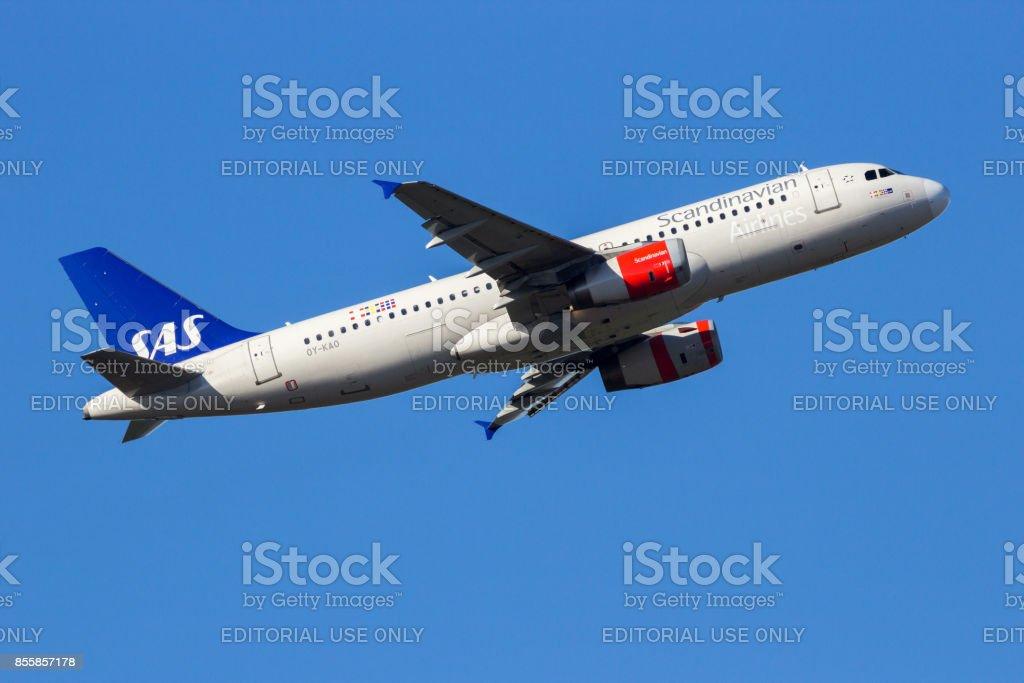 SAS Scandinavian Airlines Airbus A320 airplane stock photo