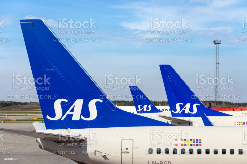 Scandinavian Airlines airplanes stock photo