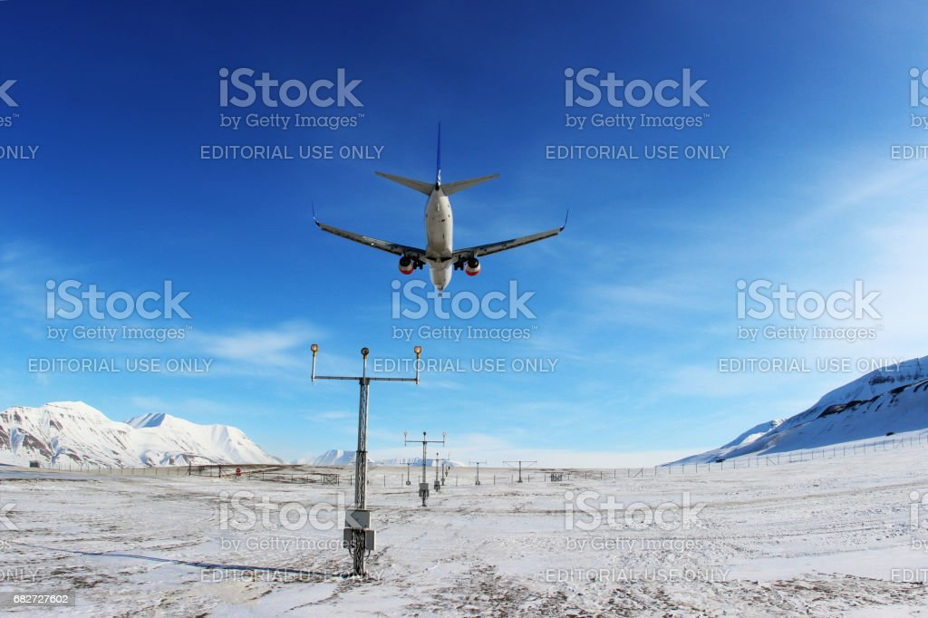 SAS - Scandinavian Airlines Boeing 737-800 LN-RRE landing at Svalbard airport. stock photo