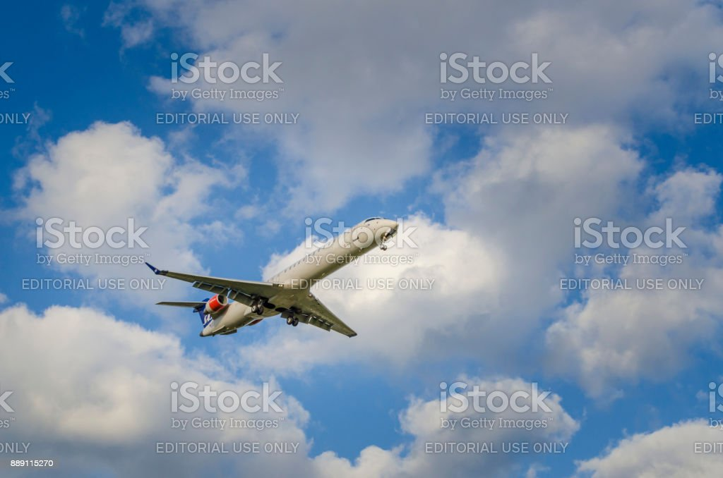 Scandinavian Airlines Bombardier CRJ900 Helsinki airport stock photo