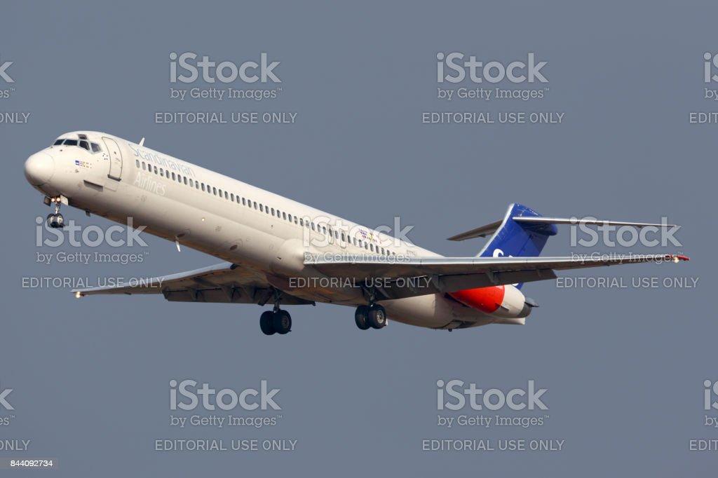 Scandinavian Airlines System McDonnell Douglas MD-82 LN-RMM landing at Sheremetyevo international airport. stock photo