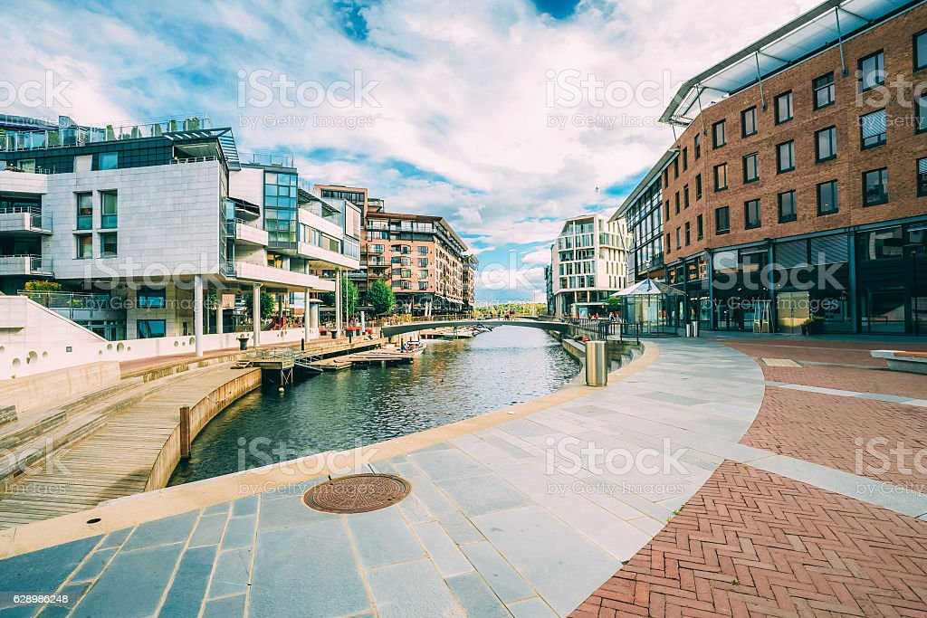 Scandinavian Architecture. Exterior Building in Aker Brygge stock photo