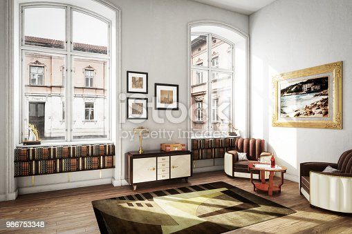 Digitally generated Scandinavian home interior interior scene with high quality art deco furniture.  The scene was rendered with photorealistic shaders and lighting in Autodesk® 3ds Max 2016 with V-Ray 3.6 with some post-production added.