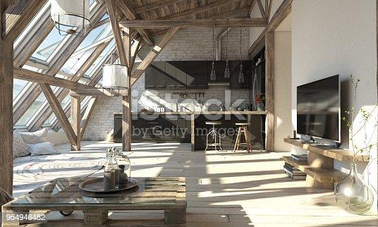 istock Scandinavian Attic Living Room Interior 954946482