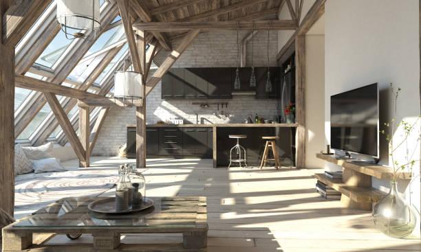 skandinavische attischen wohnzimmer interior - große wohnzimmer stock-fotos und bilder