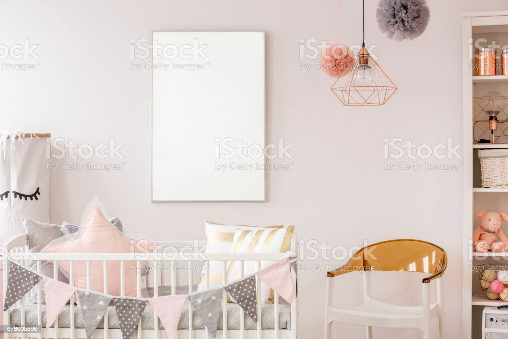 Scandinavian baby room with crib stock photo