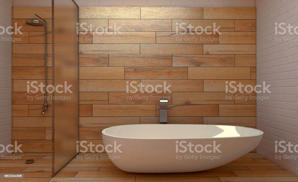 Casa de banho escandinava, projeto interior do vintage clássico. Renderização 3D. - Foto de stock de Artigo de decoração royalty-free